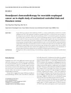 Neoadjuvant chemoradiotherapy for resectable esophageal cancer ...