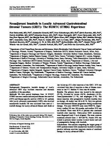 Neoadjuvant Imatinib in Locally Advanced ... - Springer Link