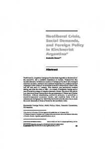Neoliberal Crisis, Social Demands, and Foreign Policy in Kirchnerist ...