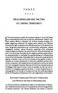 Neoliberalism and the End of Liberal Democracy