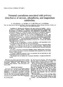 Neonatal convulsions associated with primary ... - Europe PMC