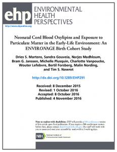 Neonatal Cord Blood Oxylipins and Exposure to Particulate Matter in ...