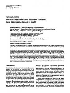 Neonatal Deaths in Rural Southern Tanzania: Care-Seeking and ...