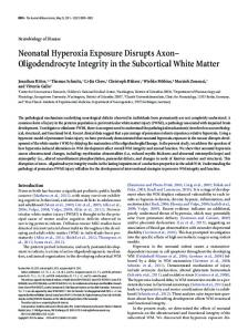 Neonatal Hyperoxia Exposure Disrupts Axon - Journal of Neuroscience