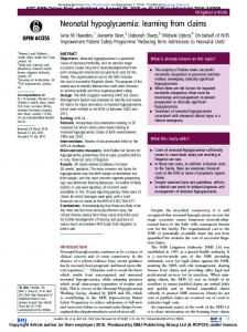 Neonatal hypoglycaemia: learning from claims