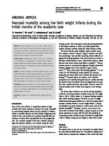 Neonatal mortality among low birth weight infants during the ... - Nature