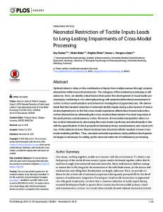 Neonatal Restriction of Tactile Inputs Leads to Long-Lasting ... - PLOS