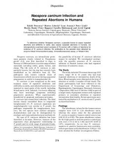 Neospora caninum Infection and Repeated Abortions in Humans - CDC