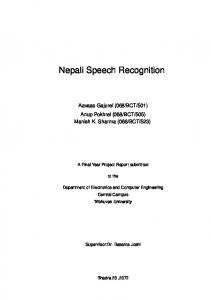 Nepali Speech Recognition