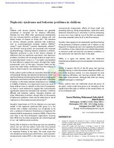 Nephrotic syndrome and behavior problems in children