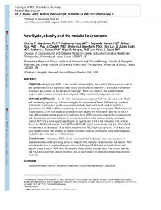 Neprilysin, obesity and the metabolic syndrome ... - BioMedSearch