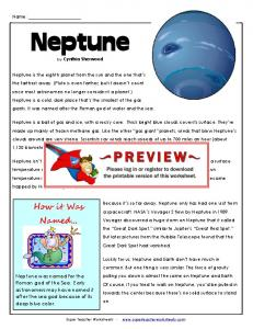 Neptune Article & Questions - Super Teacher Worksheets