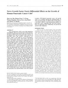 Nerve Growth Factor Exerts Differential Effects on the Growth of ...