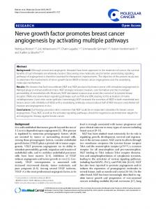 Nerve growth factor promotes breast cancer angiogenesis ... - CiteSeerX