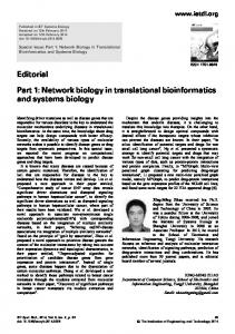 Network biology in translational bioinformatics and systems biology