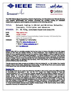 Network Coding in Wired and Wireless Networks - IEEE Ottawa ...