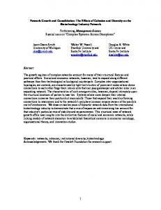 Network Growth and Consolidation: The Effects of Cohesion and ... - UCI