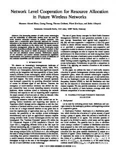 Network Level Cooperation for Resource Allocation in Future Wireless ...