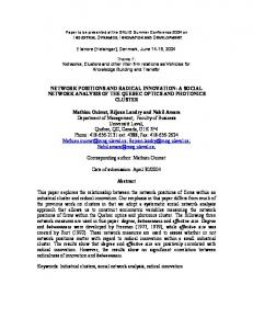 NETWORK POSITIONS AND RADICAL INNOVATION: A SOCIAL ...