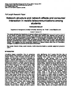 Network structure and network effects and