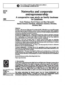 Networks and corporate entrepreneurship