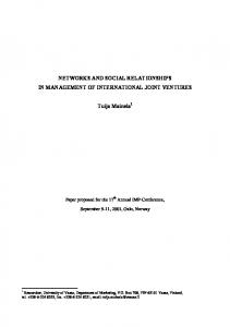 NETWORKS AND SOCIAL RELATIONSHIPS IN ... - IMP Group