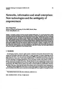 Networks, information and small enterprises - Information Technology ...