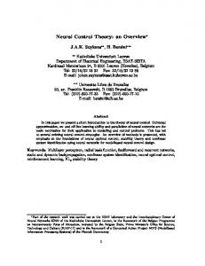 Neural Control Theory: an Overview