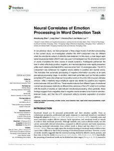 Neural Correlates of Emotion Processing in Word ...