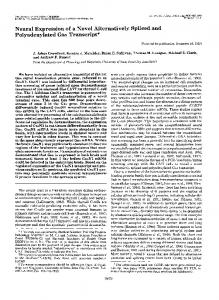 Neural Expression of a Novel Alternatively Spliced and ...