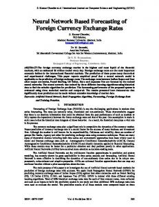 Neural Network Based Forecasting of Foreign Currency Exchange Rates