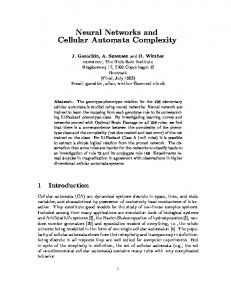 Neural Networks and Cellular Automata Complexity