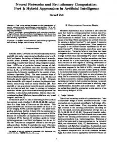 Neural Networks and Evolutionary Computation. Part I - Gerhard Weiss