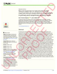 Neural responses to natural and model-matched stimuli reveal ... - PLOS