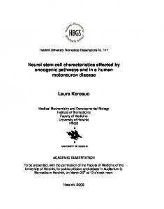 Neural stem cell characteristics affected by