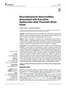 Neurobehavioral Abnormalities Associated with