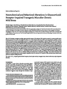 Neurochemical and Behavioral Alterations in ... - Semantic Scholar