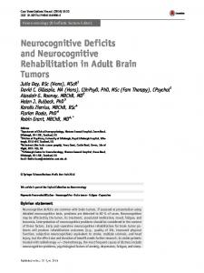 Neurocognitive Deficits and Neurocognitive ...