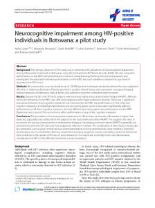 Neurocognitive impairment among HIV-positive individuals in ...