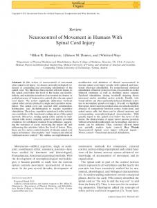 Neurocontrol of Movement in Humans With Spinal Cord Injury