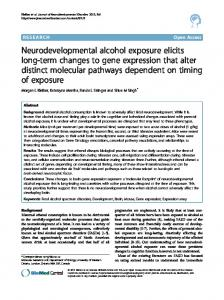 Neurodevelopmental alcohol exposure elicits long-term changes to ...