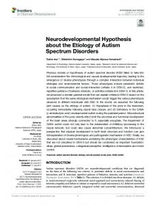 Neurodevelopmental Hypothesis about the