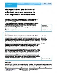 Neuroendocrine and behavioral effects of maternal exposure to oral ...