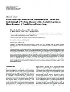 Neuroendoscopic Resection of Intraventricular Tumors and Cysts ...