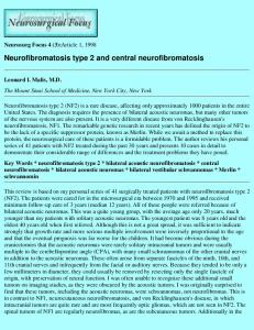 Neurofibromatosis type 2 and central neurofibromatosis