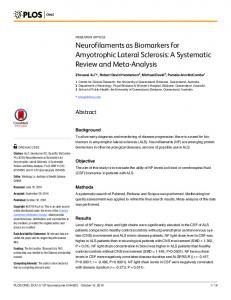 Neurofilaments as Biomarkers for Amyotrophic ... - Semantic Scholar