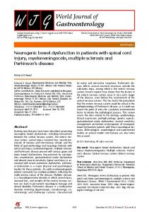Neurogenic bowel dysfunction in patients with spinal