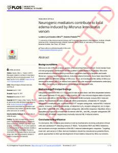 Neurogenic mediators contribute to local edema induced by ... - PLOS