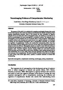Neuroimaging Evidence of Comprehension ... - Semantic Scholar