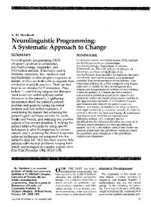Neurolinguistic Programming: A Systematic Approach to Change